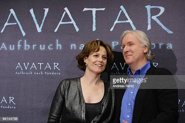 Actress Sigourney Weaver and director James Cameron attend a photocall to promote the film 'Avatar' at Hotel de Rome on December 8 2009 in Berlin...