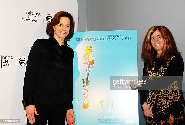 Actress Sigourney Weaver and director/ screenwriter Elizabeth Swados attend the Shorts Program City Limits during the 2014 Tribeca Film Festival at...