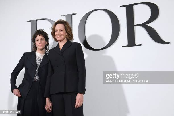 US actress Sigourney Weaver and her daughter Charlotte Simpson pose during the photocall prior to the Dior Women's FallWinter 20202021 ReadytoWear...