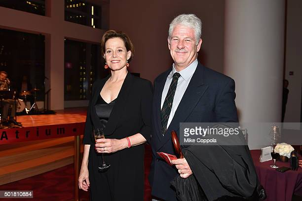 Actress Sigourney Weaver and theater director Jim Simpson attend the opening of the Mica and Ahmet Ertegun Atrium at Jazz at Lincoln Center on...