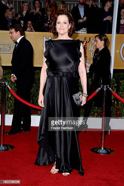 Actress Sigourney Weaver arrives at the 19th Annual Screen Actors Guild Awards held at The Shrine Auditorium on January 27 2013 in Los Angeles...