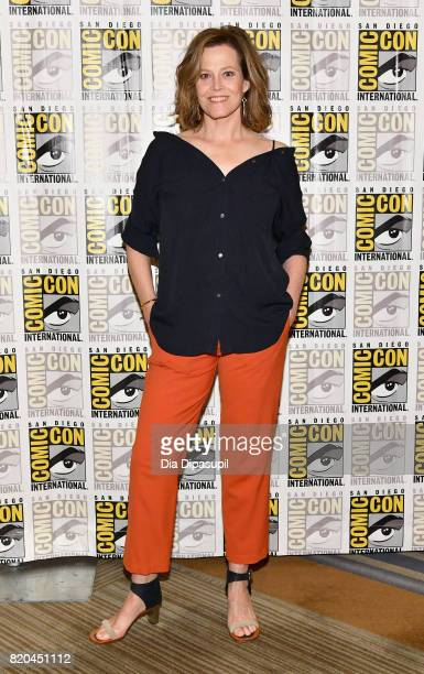 "Actress Sigourney Weaver at Marvel's ""The Defenders"" Press Line during Comic-Con International 2017 at Hilton Bayfront on July 21, 2017 in San Diego,..."