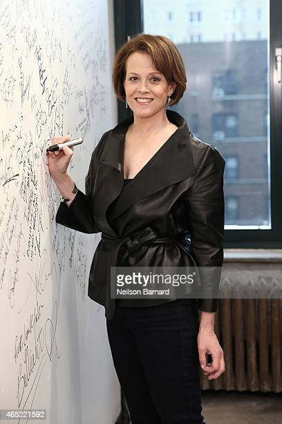 Actress Sigourney Weaver attends the AOL BUILD Speaker Series 'Chappie' at AOL Studios In New York on March 4 2015 in New York City