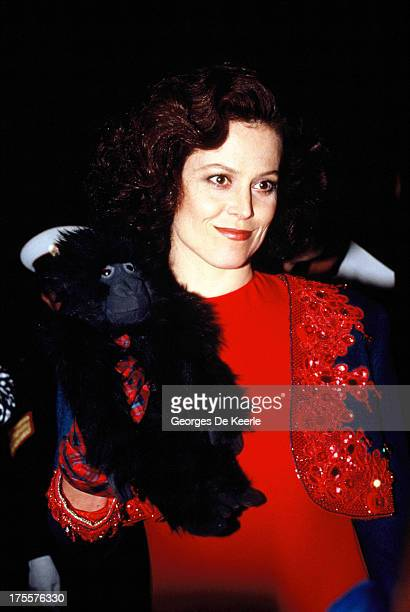 Actress Sigourney Weaver attends the 'Gorillas in the Mist' premiere on January 24, 1989 in London, England.