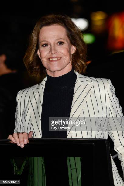 Actress Sigourney Weaver leaves the The Late Show With Stephen Colbert taping at the Ed Sullivan Theater on April 05 2017 in New York City