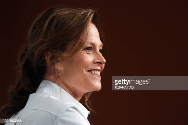 Actress Sigourney Weaver poses during a photocall at the Auditorium Parco della Musica in Rome on October 24, 2018 during the Rome Film Festival. -...