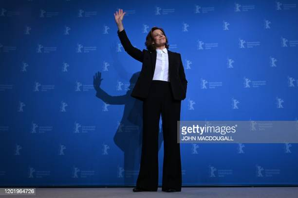 """Actress Sigourney Weaver poses during a photocall for the film """"My Salinger year"""" screened at the Berlinale Special Gala in Berlin on February 20,..."""