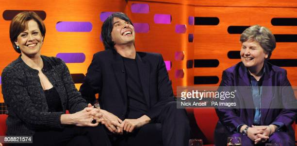 Actress Sigourney Weaver, Professor Brian Cox and comedienne Sandi Toksvig, during the recording of The Graham Norton Show at The London Studios in...