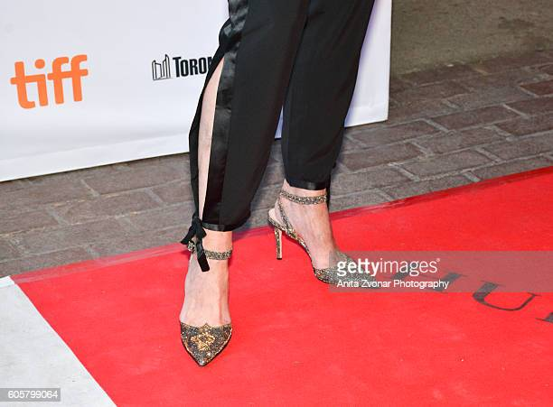 Actress Sigourney Weaver shoe detail attends the Assignment premiere during 2016 Toronto International Film Festival at Ryerson Theatre on September...