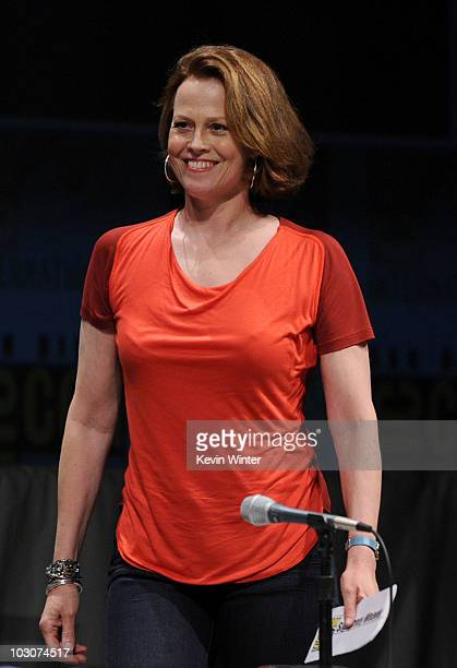 Actress Sigourney Weaver walks onstage at the 'Paul' panel during ComicCon 2010 at San Diego Convention Center on July 24 2010 in San Diego California