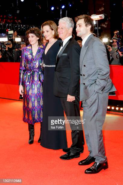 US actress Sigourney Weaver with her daughter Charlotte Simpson her husband Jim Simpson and British actor and model Douglas Booth arrive for the...