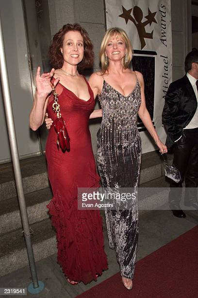 Actress Sigourney Weaver with model Cheryl Tiegs arriving at the 2002 Michael Awards at the Hammerstein Ballroom in New York City March 11 2002 Photo...