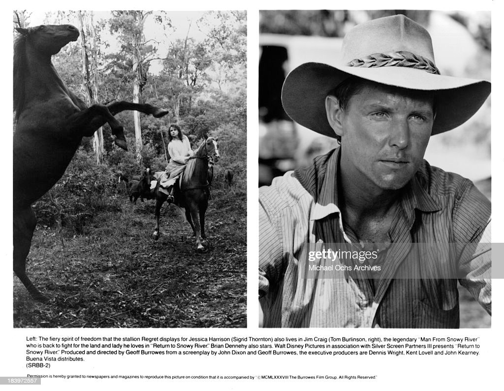 Actress Sigrid Thornton and Actor Tom Burlinson on set of the movie 'Return to Snowy River' in 1988.