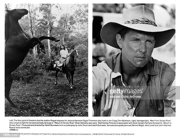 Actress Sigrid Thornton and Actor Tom Burlinson on set of the movie 'Return to Snowy River' in 1988
