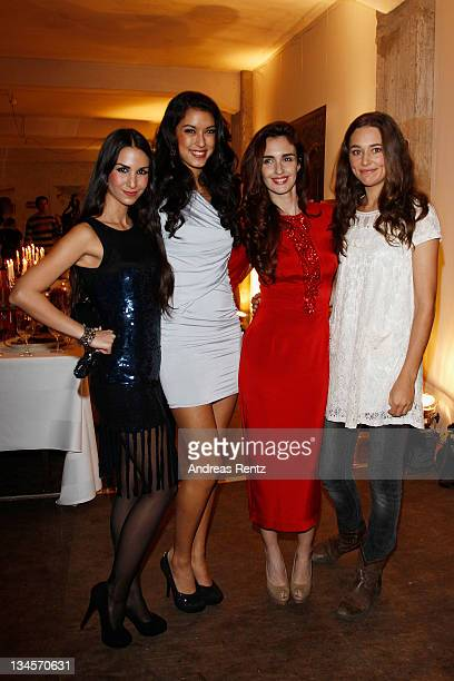 Actress Sila Sahin, model Rebecca Mir, actress Paz Vega and actress Alissa Jung attend the '2012 Lambertz calender' launch at Soho House on December...