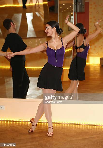Actress Sila Sahin poses at a photo call for the television competition 'Let's Dance' on March 19 2013 in Berlin Germany On April 5th the show in...