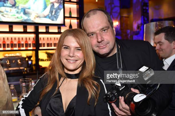 Actress Silke Popp and her partner artist Felix Hoerhager during the NdF after work press cocktail at Parkcafe on March 14 2018 in Munich Germany