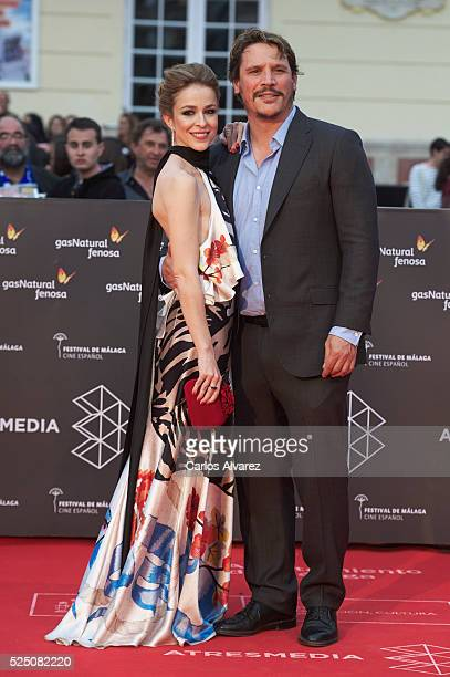 Actress Silvia Abascal and actor Sergio PerisMencheta attend 'Zoe' premiere at the Cervantes Teather during the 19 Malaga Film Festival on April 27...