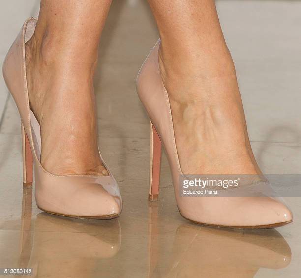 Actress Silvia Abril shoes detail attends 'Vulcania' photocall at Princesa cinema on February 29 2016 in Madrid Spain