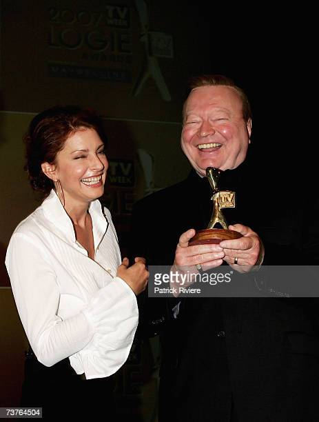 Actress Simmone Jade Mackinnon and TV Host Bert Newton attend the nominations announcement for the 2007 TV Week Logie Awards at Luna Park on April 2...