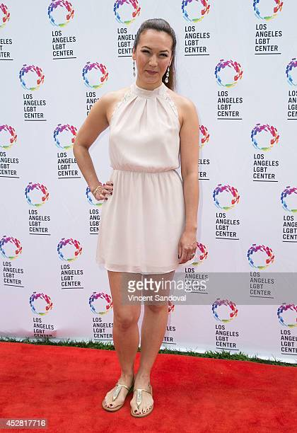 Actress Simone Bailly attends the GLEH/Los Angeles LGBT Center's Garden Party on July 27 2014 in Los Angeles California