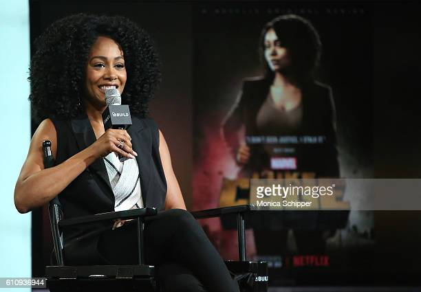 Actress Simone Missick speaks at BUILD Speaker Series Presents Simone Missick Discussing Marvel's Luke Cage at AOL HQ on September 28 2016 in New...