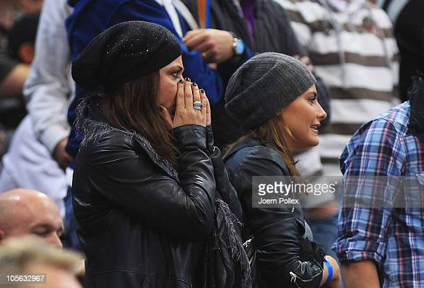 Actress Simone Thomalla and her daughter Sophia are pictured during the Toyota Handball Bundesliga match between HSV Hamburg and Fuechse Berlin at...