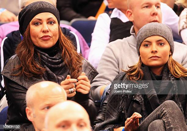 Actress Simone Thomalla and her daughter Sophia are pictured prior to the Toyota Handball Bundesliga match between HSV Hamburg and Fuechse Berlin at...