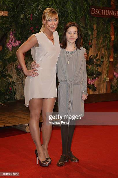 Actress Sina Tkotsch and young actress Stella Kunkat attend the 'Dschungelkind' Premiere at CineStar on February 7 2011 in Berlin Germany