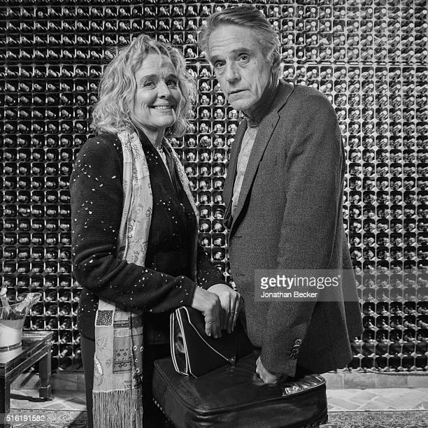 Actress Sinead Cusack and actor Jeremy Irons are photographed at the Charles Finch and Chanel's PreBAFTA on February 7 2015 in London England...