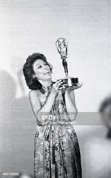 Actress singer and dancer Rita Moreno poses with her Emmy after winning Best Lead Actress for a Single Appearance in a Drama or Comedy Series The...