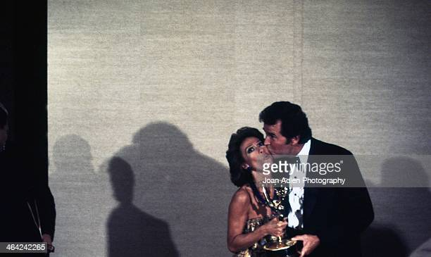 Actress singer and dancer Rita Moreno poses with James Garner after winning Best Lead Actress for a Single Appearance in a Drama or Comedy Series The...