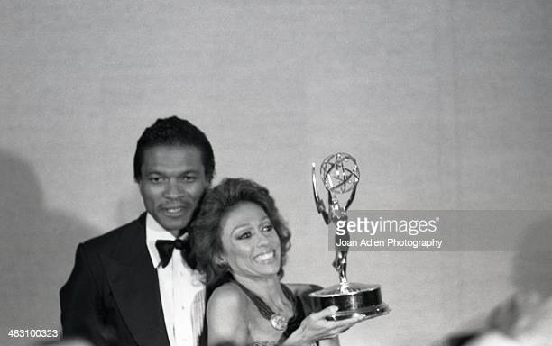 Actress singer and dancer Rita Moreno poses with presenter Billy Dee Williams after winning Best Lead Actress for a Single Appearance in a Drama or...