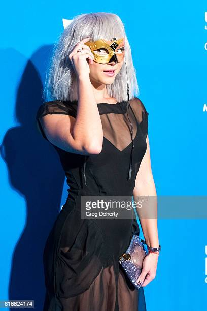 Actress singer and songwriter Allie Gonino arrives at the 4th Annual UNICEF Masquerade Ball at Clifton's Cafeteria on October 27 2016 in Los Angeles...
