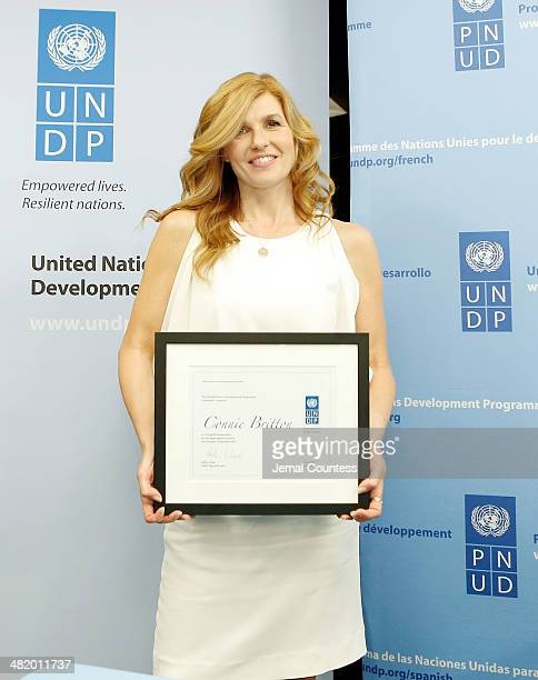 Actress Singer Connie Britton poses for a photo after she Announced Her Appointment as UNDP Goodwill Ambassador For Poverty Eradication And Women's...