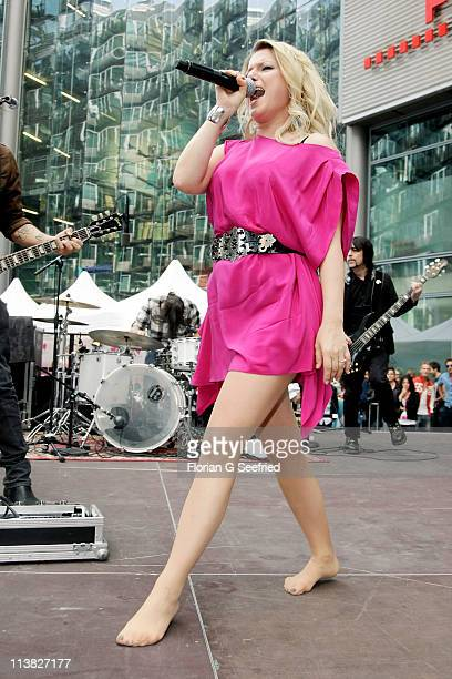 Actress singer Jeanette Biedermann performs at the Fan Event of 'Anna Und Die Liebe' and 'Hand aufs Herz' at Sony Centre on May 7 2011 in Berlin...