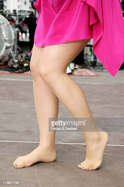 Actress singer Jeanette Biedermann performs barefoot at the Fan Event of 'Anna Und Die Liebe' and 'Hand aufs Herz' at Sony Centre on May 7 2011 in...
