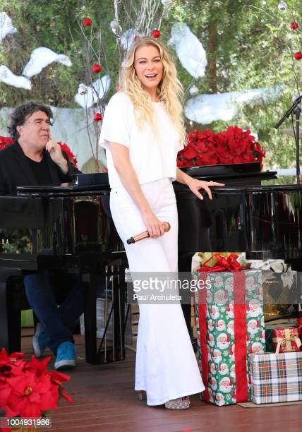 Actress / Singer LeAnn Rimes performs at Hallmark's Home Family celebrating 'Christmas In July' at Universal Studios Hollywood on July 24 2018 in...