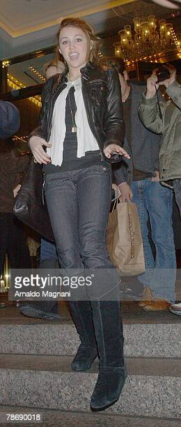 Actress singer Miley Cyrus leaves Trump International Hotel January 1 2008 in New York City Cyrus was on route to Atlantic City to perform