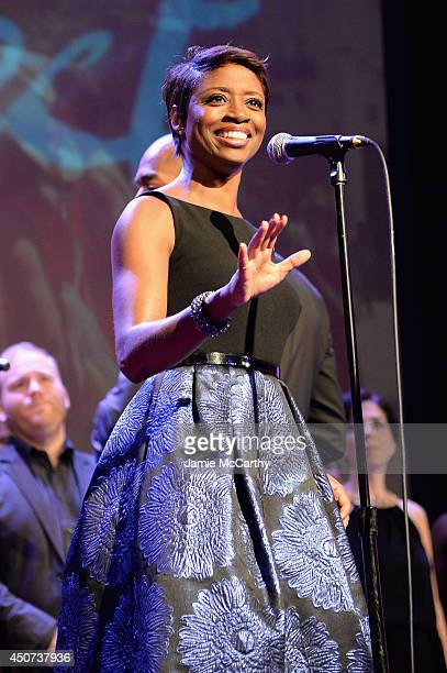 Actress singer Montego Glover performs onstage at the Trevor Project's 2014 'TrevorLIVE NY' Event at the Marriott Marquis Hotel on June 16 2014 in...