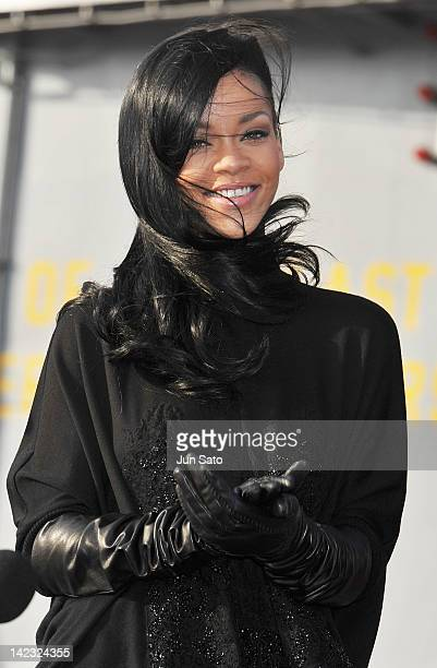 Actress/ singer Rihanna attends the 'Battleship' Press Conference on the USS George Washington at US Fleet Activities Yokosuka on April 2 2012 in...