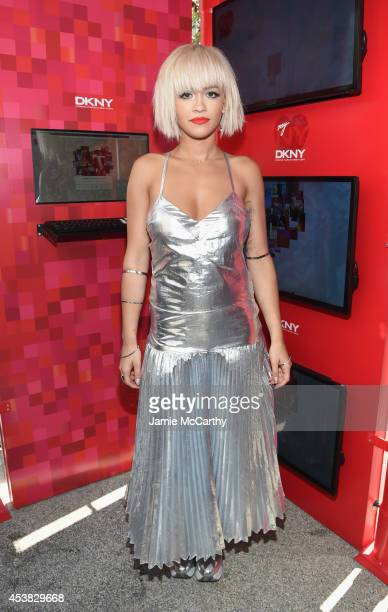 Actress singer Rita Ora attends as DKNY celebrates the launch of the new DKNY MYNY fragrance with Rita Ora Chrissy Teigen Hannah Bronfman among other...