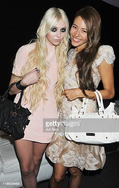 Actress/ singer Taylor Momsen and model Jessica Michibata attend a press conference for Samantha Thavasa on June 18 2011 in Tokyo Japan