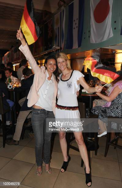 Actress Sinta Weisz and Natascha Gruen attend the public viewing party for the first match of the German team during the world cup 2010 at the...