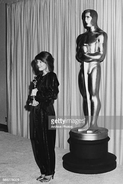 Actress Sissy Spacek holding her Best Actress Oscar for the film 'The Coal Miners Daughter' at the 53rd Academy Awards, Los Angeles, March 31st 1981.