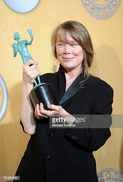 Actress Sissy Spacek Winner Cast in a Motion Picture for The Help poses in the press room during The 18th Annual Screen Actors Guild Awards broadcast...