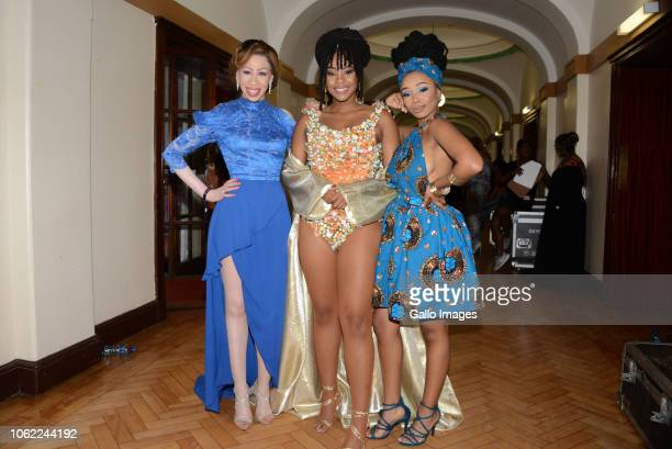TV actress sisters Bontle Modiselle Refilwe Modiselle and Candice Modiselle during the 10th annual Feather Awards at the Johannesburg City Hall on...
