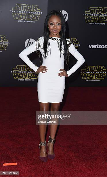 Actress Skai Jackson arrives at the premiere of Walt Disney Pictures' and Lucasfilm's 'Star Wars The Force Awakens' at the Dolby Theatre TCL Chinese...