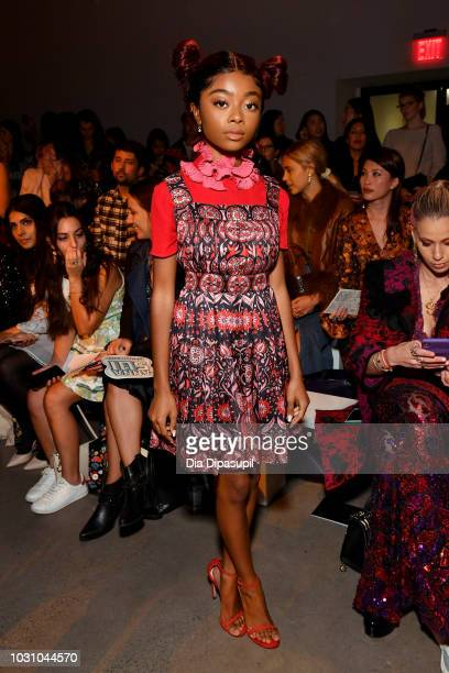 Actress Skai Jackson attends the Anna Sui front row during New York Fashion Week: The Shows at Gallery I at Spring Studios on September 10, 2018 in...
