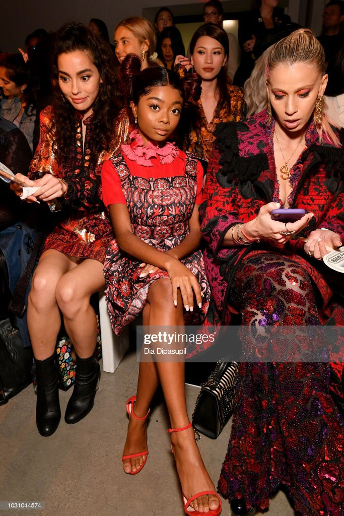 Actress Skai Jackson attends the Anna Sui front row during New York Fashion Week: The Shows at Gallery I at Spring Studios on September 10, 2018 in New York City.